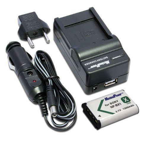 Maximal Power FC500 SON BX1+DB SON NP-BX1 Sony Battery Charger and Fully Decoded Replacement Battery (Black) (Np Bx 1 Battery)