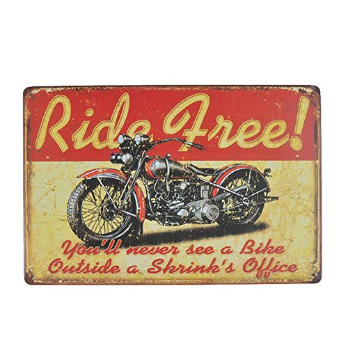 ecoration Metal Tin Sign Poster Plaque Motorcycle Ride Free (Motorcycle Plaque)