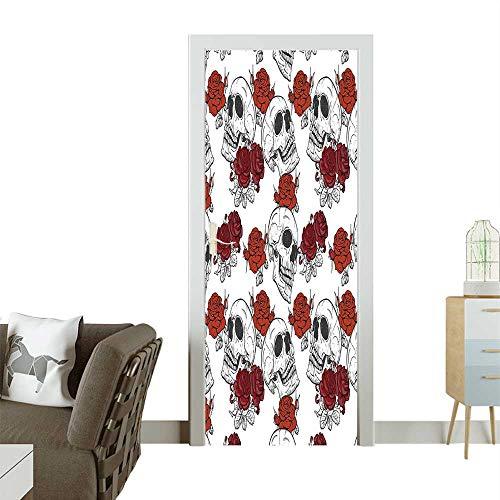 Homesonne Waterproof Decoration Door Decals Gothic Dead Skelet Figur Halloween Spooky Romantic Grey Perfect ornamentW38.5 x H77 -