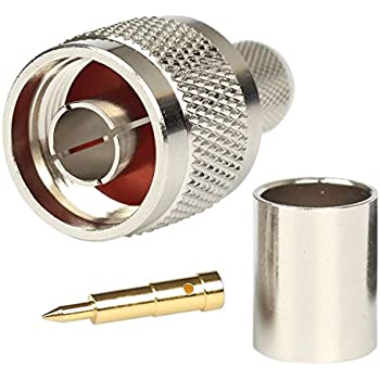 N Connectos Male Crimp Rf Coaxial Connector 50 ohm for LMR400 Belden 9913 RG8 Pack of 5 piece