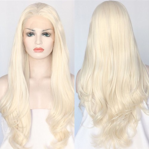 Sapphirewigs Blonde Color Natural Wavy White Women Daily Makeup Synthetic Lace Front Wigs