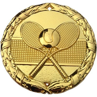 (Tennis Medal Gold 2 inch with Neck Ribbon Award Trophy (1))