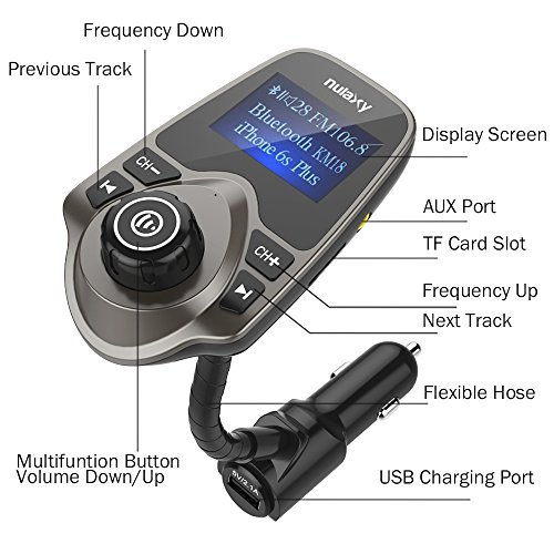 [Newest Version LED FM Transmitter], Nulaxy Wireless In-Car Bluetooth FM Transmitter