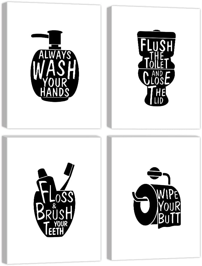 KALAWA Black and White Bathroom Decor Prints with Frames Bathroom Pictures for Wall Funny Bathroom Sign Black Bathroom Wall Art Black Wall Decor Bathroom Art Ready to Hang 8 x 12 inch