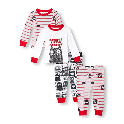 The Children's Place Baby Boys 4 Piece Long Sleeve Pajama Set, Big Apple, 3-6MONTHS