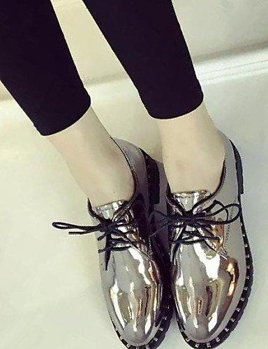 A Cn38 5 Eu36 5 Uk3 puntiagudos Black Robusto Comfort Eu38 semicuero 5 us5 Zapatos Cn35 Plata Moda sneakers vestido Zq Casual Uk5 us7 Silver De Hug La 5 tacón negro Mujer Fpgpnf