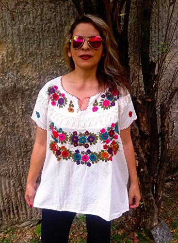 777746ab57701b Amazon.com: Bohemian Blouse for Women Embroidery Foral Tunic Plus Size:  Handmade