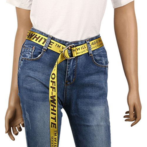 Damara Womens Canvas Belt D-Ring Buckle Adjustable Letter Printed Design,Yellow