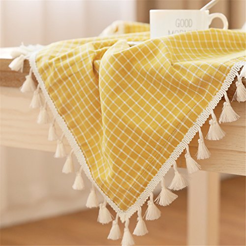 LUCKYHOUSEHOME Yellow and White Checkered Tassel Rectangular Tablecloth Cotton Linen Rural Home Kitchen Dinning Tabletop Table Cover 55 x 71 Inch]()