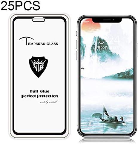 Color : Black LGYD for 25 PCS Full Screen Full Glue Anti-Fingerprint Tempered Glass Film for iPhone XR Black