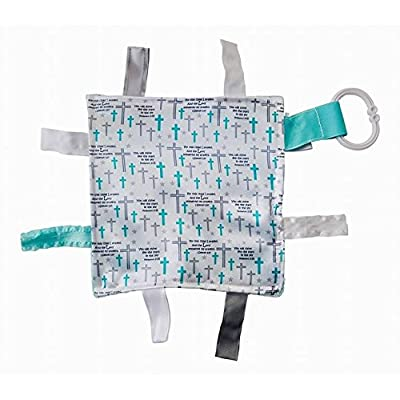 "Baby Sensory, Security & Teething Closed Ribbon Tag Lovey Blanket with Minky Dot Fabric: 8""X8"" (Prayer) : Baby"