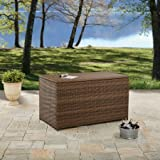 Versatile Camrose Farmhouse Outdoor Storage Wicker Deck Box, Gray/Light Brown