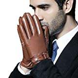 CWJ Glove Men Thicker Warm Touch,Brown,Medium