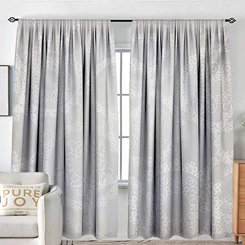 NUOMANAN Curtains for Bedroom Pearls,Circles Lace Doily Pattern Modern and Romantic Bridal Style Design Artwork Print,Grey White,Darkening and Thermal Insulating Draperies 100
