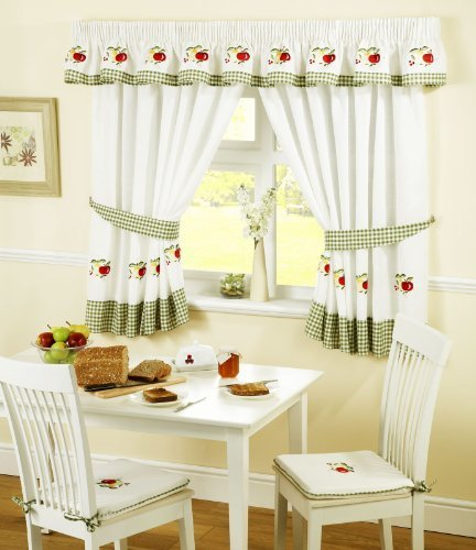Fruits Pencil Pleat Kitchen Curtains And Tiebacks Green White 46 X 48
