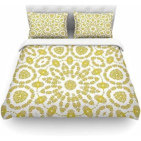 KESS InHouse AC1126ACD03 Duvet Cover Alison Coxon Flaxen Mandala White Yellow King Featherweight Duvet Cover 104 X 88
