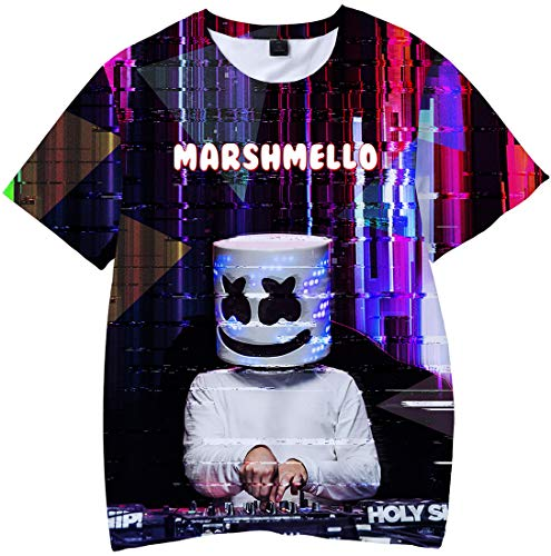 - 51IJornkkJL - Eudolah Men's Marshmello 3D Printed T-Shirt Fans Smiley Face Pullover DJ EDM Baseball Jacket Cool Top Tees