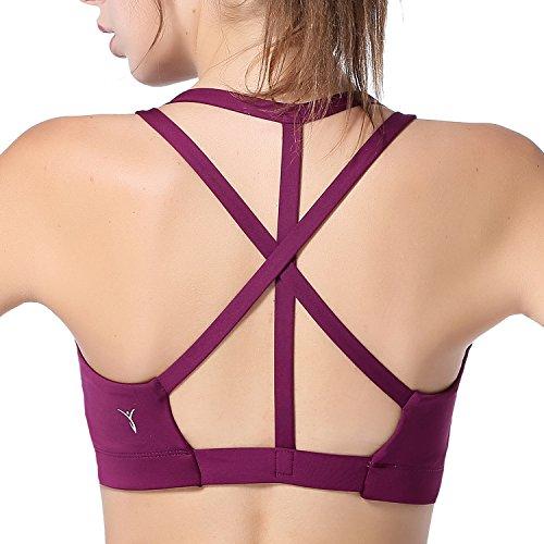 AIYIHAN Womens Yoga Sports Bra Cross Back Support Running Bra Purple M