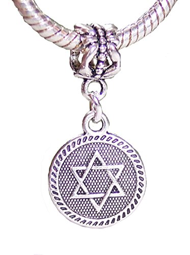 Jewish Star of David Medallion Dangle Charm for Silver European Bead Bracelets Crafting Key Chain Bracelet Necklace Jewelry Accessories Pendants