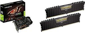 Gigabyte Geforce GTX 1050 Ti OC 4GB GDDR5 128 Bit PCI-E Graphic Card (GV-N105TOC-4GD) & Corsair Vengeance LPX 16GB (2x8GB) DDR4 DRAM 3000MHz C15 Desktop Memory Kit - Black (CMK16GX4M2B3000C15)