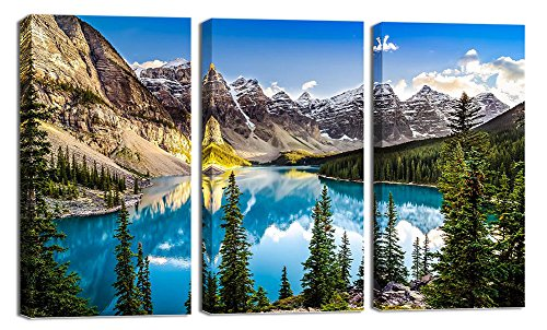 Canvas Wall Art,3 Panels Framed Prints Art,Blue Valley and Lake Landscape Picture Print on Canvas,Modern Large Artwork Ready to Hang for Living Room Bedroom Wall Decoration (12x24inchx3p) - Valleys Framed Landscape Art