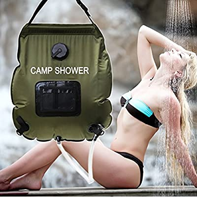 Ecofriendly Portable Solar Camping Shower with Comfort Grip Handle, Removable Hose and On | Off Switchable Shower Head - Outdoor Collapsible Hanging Solar Shower Bag with Temperature Gauge - 5 gal