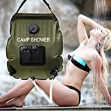 Wealers Ecofriendly Portable Solar Camping Shower Comfort Grip Handle, Removable Hose On | Off Switchable Shower Head - Outdoor Collapsible Hanging Solar Shower Bag Temperature Gauge - 5 gal