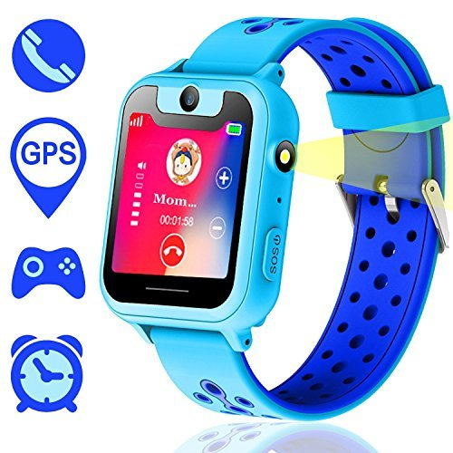 SZBXD GPS Tracker Kids Smart Watch for Children Girls Boys Gifts with Camera SIM Calls Anti-Lost SOS Smartwatch Bracelet for iPhone Android Smartphone (Blue 1)