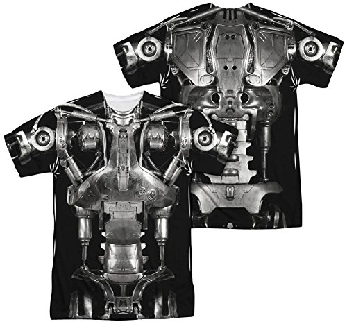[Terminator - Endoskeleton Costume (Front - Back Print) T-Shirt Size XL] (Cameron Terminator Costume)