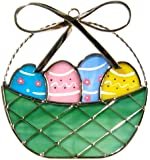 Easter Basket with Eggs Stained Glass Suncatcher