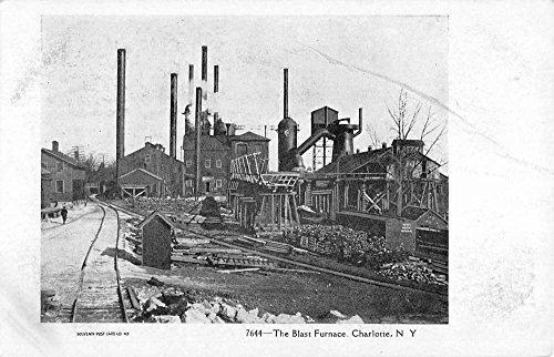 (Charlotte New York Blast Furnace Industrial View Antique Postcard K85366 )