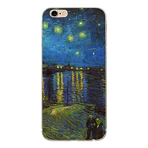 (MISC Blue Green Van Gogh Themed iPhone 5 Case Starry Night Over The Rhone Painting 5S Cover 5 SE Vincent Artist Beautiful Iconic Pretty Art Artistic, Silicone)