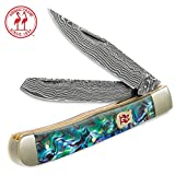 Cheap Kissing Crane Genuine Abalone Damascus Trapper Pocket Knife