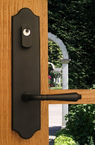 "Dead Front Plate (Lavish Solid Brass Lever Set and Back Plates with Deadbolt for Entry Doors in Black, 2-3/8"" Backset)"