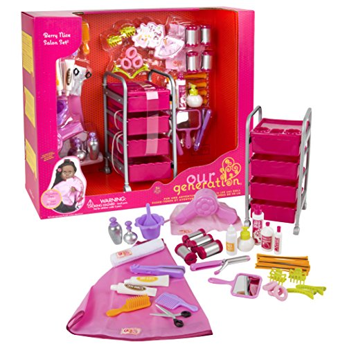 Our Generation Berry Nice Salon Set with 48 Accessories for 18-Inch Dolls - Big Doll Furniture