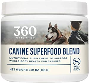 360 Pet Nutrition Canine Superfood Blend, Meal Topper to Support Whole Body Health, 30 Servings