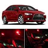LEDpartsNOW Mitsubishi Lancer 2007-2015 Red Premium LED Interior Lights Package Kit (6 Pieces)