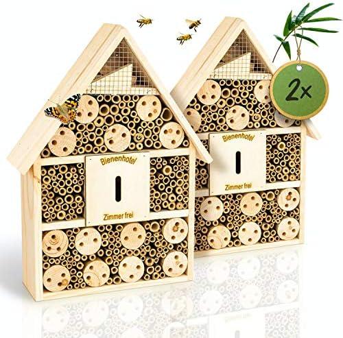 bambuswald© 2 Stück : Insektenhotel 28,5 x 9 x 39 cm | Bienenhotel Unterschlupf für Insekten - Insektenhaus Naturmaterialien. Gelebter Natur- & Artenschutzfür Zuhause -NistkastenHausNützlingshotel