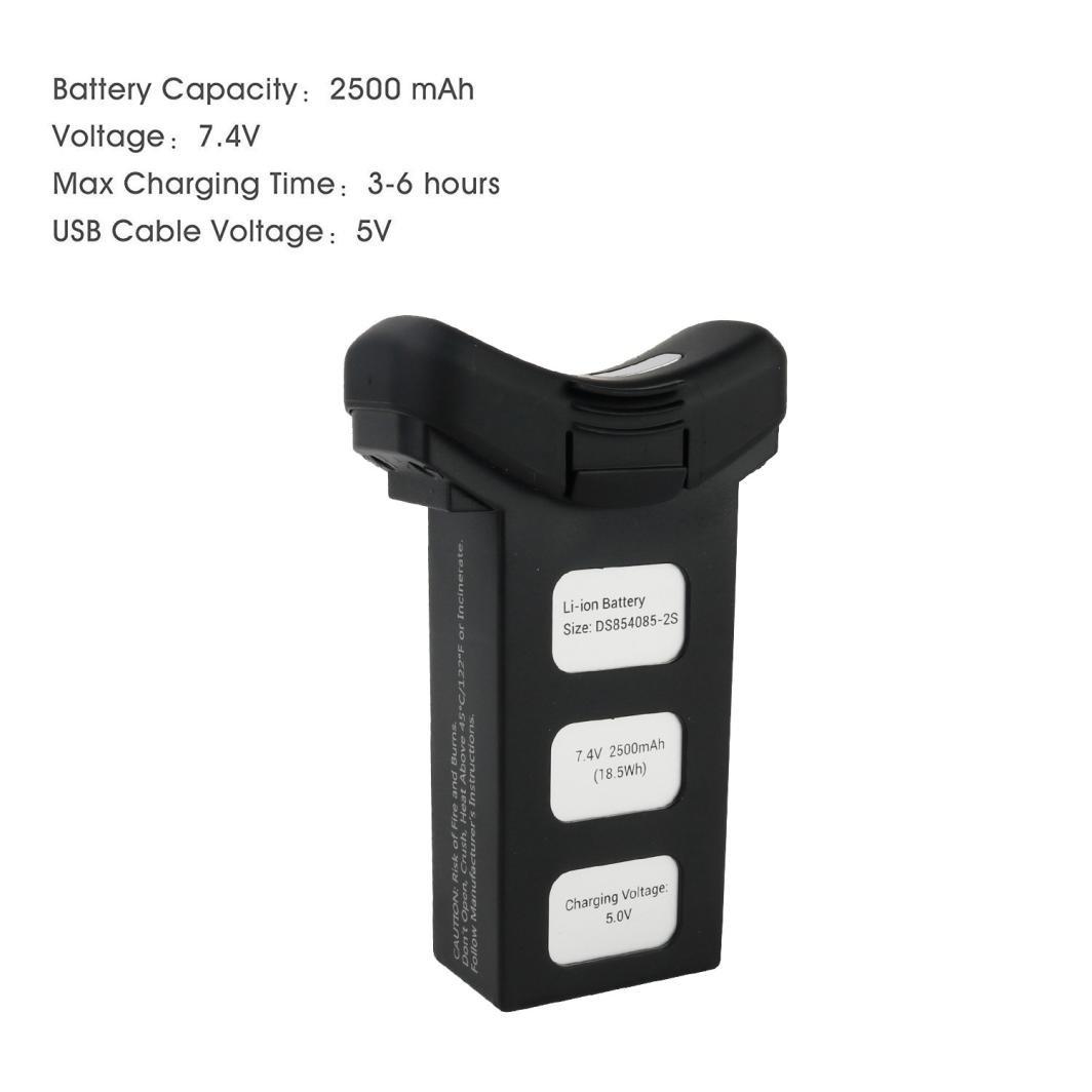 Nero Fami Batteria Intelligente Lipo 7.4V 2500mAh per Holy Stone HS100 S70W Drone Quadcopter