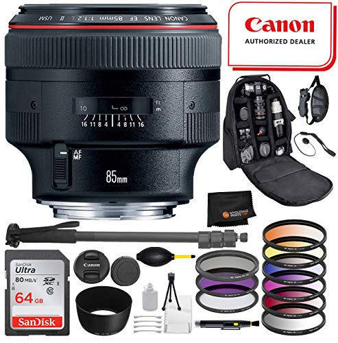 Canon EF 85mm f/1.2L II USM Lens Professional Package Deal: SanDisk Ultra 64GB SDXC + Pro Series 72″ Monopod + DSLR Camera Backpack and More