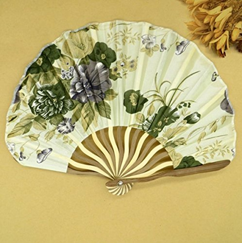 Beige Green 50Pcs/Lot Printed Personalized Delicate Packaging Japanese Flower Floral Fabric Folding Hand Fan Wedding Favors by Hand Fan