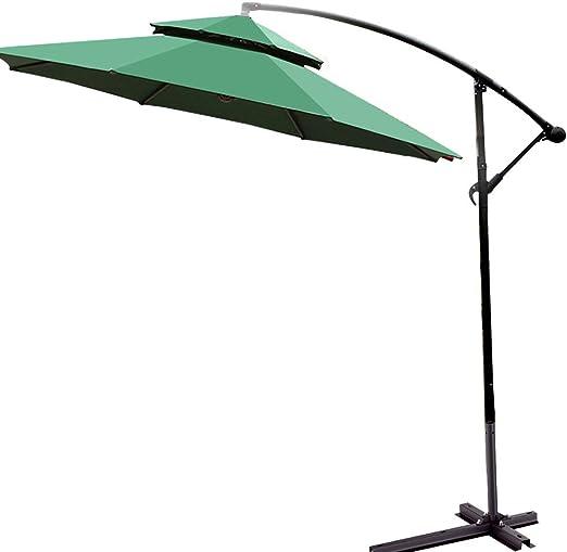 Parasol Sombrilla Ø270cm Sombrilla de Jardín Protección Solar Excéntrico Sombrilla Exterior con Manivela, Aluminio 255cm, Caqui UV40 + Impermeable: Amazon.es: Jardín