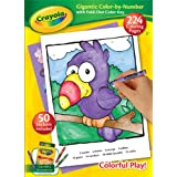 Crayola Gigantic 224 Pages Color By Number Kids Coloring Book with Fold Out Color Key & 50 Stickers Included, Ages 3 and Up