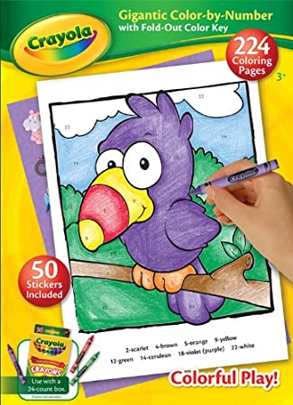 crayola gigantic 224 pages color by number kids coloring book with fold out color key
