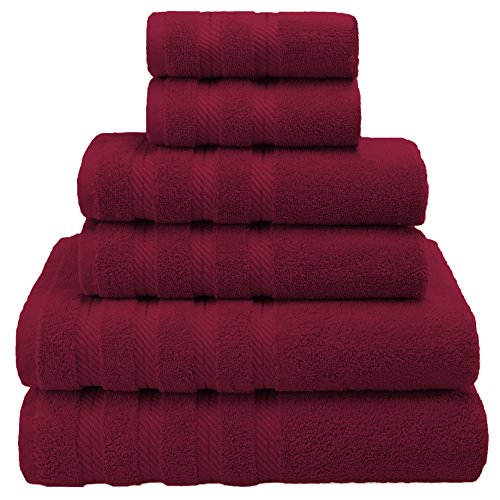 Premium, Luxury Hotel & Spa, 6 Piece Towel Set, Turkish Towels, Cotton for Maximum Softness and Absorbency by American Soft Linen, [Worth $78.95] (Bordeaux Red) (Towel Set)