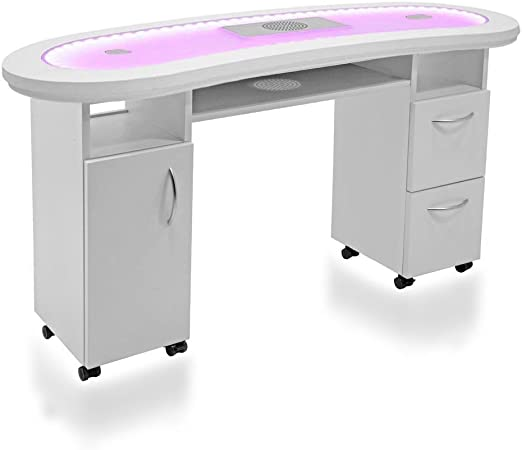 Mesa profesional para manicura Design DR05, con tablero de cristal ...