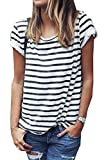 Hoyod Women's Round Neck Black and White Striped Short Sleeve Shirt Top