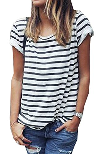 womens-round-neck-black-and-white-striped-short-sleeve-shirt-top