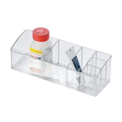 InterDesign Med+ pastillero semanal | Caja clasificadora con 6 compartimentos | Ideal para fármacos, pastillas