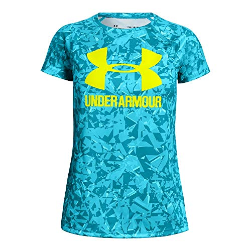 (Under Armour Girls Big Logo Tee novelty short sleeve Shirts, Deceit (439)/High-Vis Yellow, Youth Large)